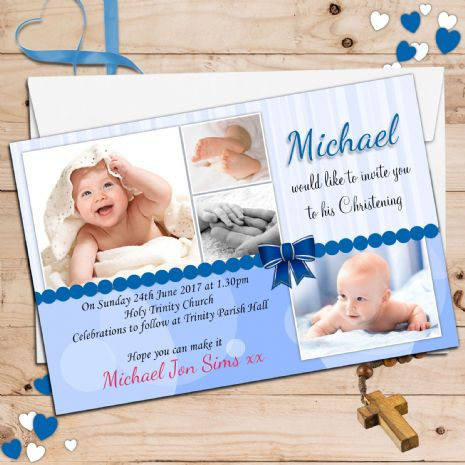 10 Personalised Christening Baptism PHOTO Invitations N25